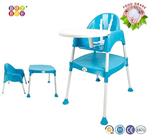 Baby High Chair BPA FREE / Adjustable Portable Space Saver Convertible 3-in-1 / Anti Skid (Blue) by Bey Bee