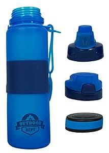 OUTDOOR DEPT Faltbare Silikon Trinkflasche, 3 Deckel, BPA frei, 650 ML, Weiches Gummi, Spülmaschinenfest, BPA frei. Wasserflasche wiederverwendbar.