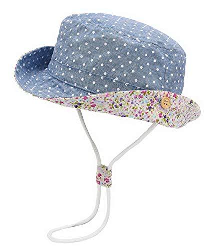 DEMU Baby Hut Sonnenhut Sonnenschutz Strandhut Kinder Sommerhut Wendehut UV-Schutz Sommermütze Blau Punkt Hut Umfang 46cm (Babys Sonne)