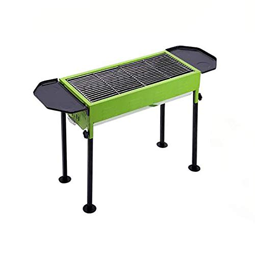 XXBR Tragbarer Grill mit Deckel Holzkohle Faltbar Holzkohlegrills Barbecue Holzkohle Grill Tragbarer Klappgrill Party Garten Camping - Eisen(66 * 30 * 70CM), Green