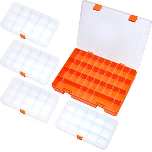 bewahrungsbox Schmuckkasten für die Schmuck Perlen und andere Mini Waren Sortierkästen Aufbewahrungsboxen Orange/Transparente 5 Stück in 2 Größen ()