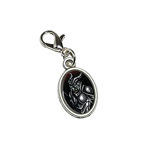 Graphics and More Knight Armor - Medieval Warrior Dragon Slayer Fantasy Antiqued Bracelet Pendant Zipper Pull Oval Charm with Lobster Clasp