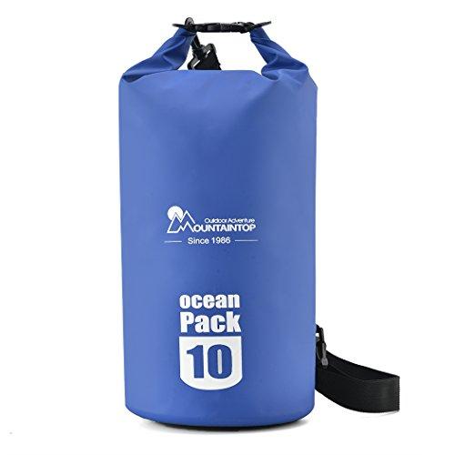 Mountaintop Trockentasche 10L/25L - Wasserdichte Taschen, ideal für Bootfahren / Kajakfahren / Angeln / Rafting / Schwimmen / Schwimmende / Camping - Schützt Telefon / Kamera / Kleidung / Dokumente von Wasser, Sand, Staub und Schmutz (Blau-Neu, 10L-1) (Tasche 25l)