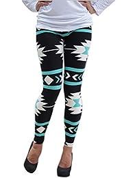 Tongshi Legging geométrico flaco de los pantalones del estiramiento (verde d3c82de0f541