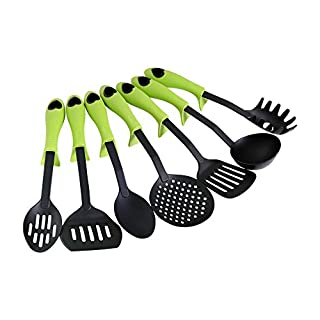 Ambrosya | Kitchen helper set of 7 parts | Kelle Cookware Kitchen Set Kitchen Set Kitchen Utensils Spoon Noodles Pasta Scoop Pasta Spoon Pss Turner Ladle Tongs (Green, 7 pieces)
