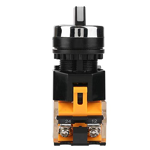 Akozon Momentary Rotary Switch 22mm 2 Position Auto Reset Selector Momentary Drehschalter LA38-11BX22 (Zwei Position Momentary Schalter)