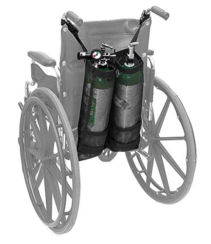 Rziioo Doppel-Sauerstoffflaschenhalter für Rollstuhlfahrer-Sauerstofftankhalter Für Sauerstofftanks D und E