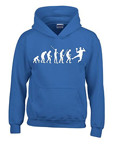 HANDBALL Evolution Kinder Sweatshirt mit Kapuze HOODIE blau-weiss, Gr.152cm