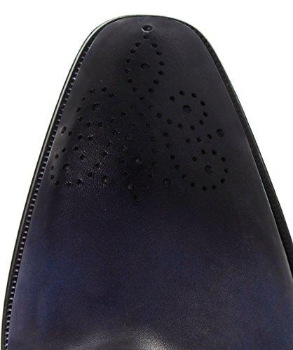 Magnanni Hommes brogues oxford en cuir lisse Bleu Bleu