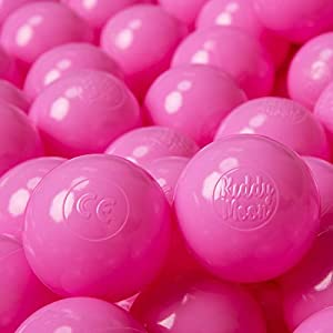 KiddyMoon 100 6Cm Bolas Colores De Plástico para Piscina Certificadas para Niños, Rosa