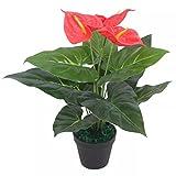 Shengtaieushop Anthurium pianta artificiale, pentola 45cm rosso e giallo realistico look Home Office
