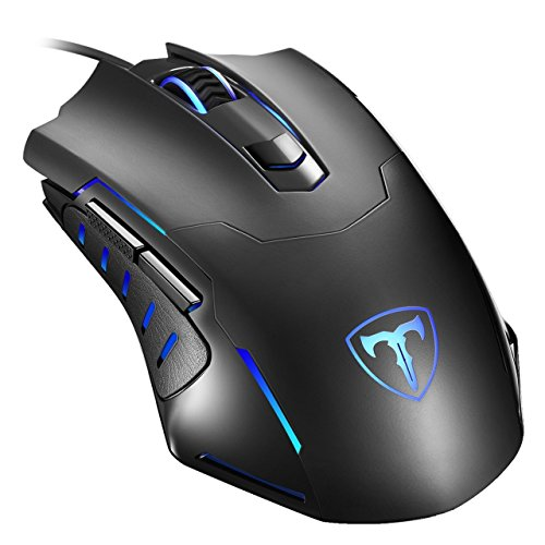 USB Gaming Maus, Holife 098 Gamer Maus【Basis Version】 Optische Gaming Mouse mit 2400 DPI/4 Einstellbare DPI/6 Tasten/1.6m USB Kabel für PC Pro Gamer Spieler, Windows XP/Visa/7/8/10 (Schwarz) (Dpi-kabel)