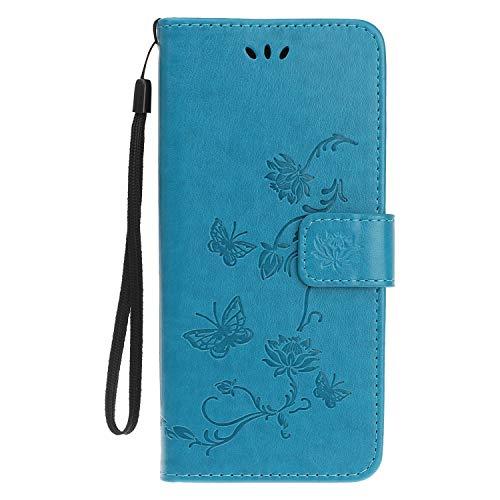 Reevermap Samsung Galaxy A50 Hülle, Handyhülle Tasche Leder Flip Case Brieftasche Etui Ständer Book Blume Schmetterling Muster Schutzhülle für Samsung Galaxy A50 Cover - Blau