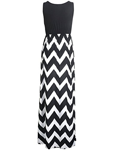 Tkiames Damen Sommerkleid Strandkleid Lang Rundhals High Waist Striped Sleeveless Beach Boho Kleid Partykleid Cocktailkleid Schwarz W2