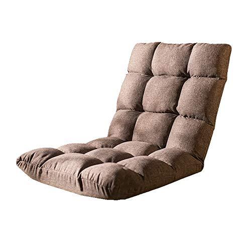 Weentop Verstellbarer Stuhl mit Rückenlehne Faltbare Sitzmatte Leichter, gepolsterter, tragbarer Stadionsitz Tatami-Taillenstützsitz (Farbe : Braun, Größe : 52 * 111 * 13cm) -