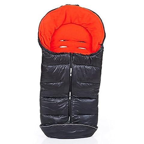 ABC-Design Universal-Fußsack / Winterfußsack für Kinderwagen & Buggy   Thermo-Fleece, Wasser- & Windabweisend, Anti-Rutsch-Pads, Mumienfunktion - Flame (Grau, Rot) schwarz/rot
