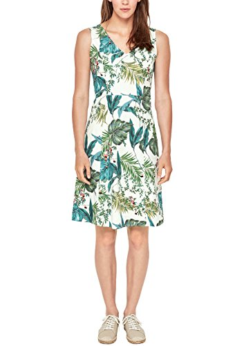 s.Oliver RED LABEL Damen Fit & Flare-Kleid mit Jungle-Print White AOP 34 (Jungle Print Kleid)