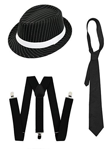 Prohibition 1920er Kostüm - ILOVEFANCYDRESS Gangster Kostüm der 1920er Reihe -Zubehör Set Deluxe - Schwarze Hosenträger + Schwarze Krawatte + Schwarzer Nadelstreifen-Fedora-Hut
