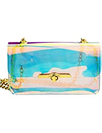 Sibalasi- Women's Laser Hologram Mini Cross Body Bag Transparent Sling Bag Clear Beach Waterproof Swimming Purse...