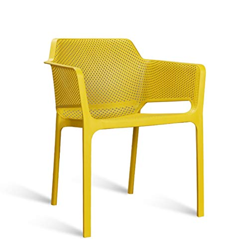 KLEDDP Freizeit Sessel Esszimmerstuhl Moderner Computer Stuhl Kunststoff Sitz Stuhl Restaurant Hocker Gelb 57x54x80 cm Stuhl - Kunststoff-stuhl Moderner