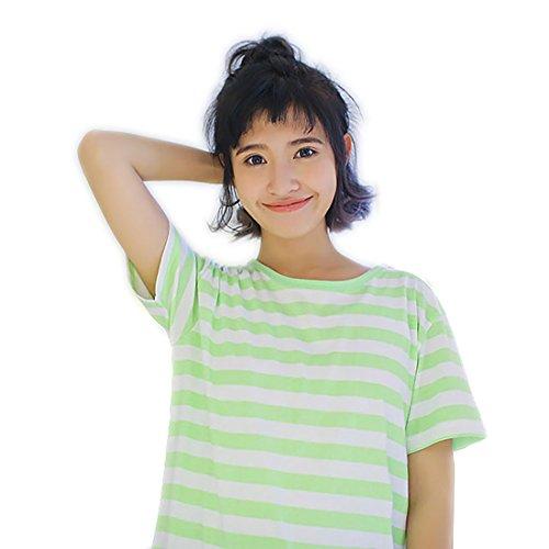 Backbuy Damen Sommer Baumwolle Kurzarm Gestreift Nächtlich Pyjama Nachthemd Grün