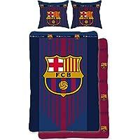 BERONAGE Wende-Bettwäsche FC Barcelona - Bordeaux/blau 100% Baumwolle - Linon/Renforcé - Fußball-Bettzeug - Primera Division Bettbezug Fan-Bettwäsche Fussball-Bettwäsche - Camp NOU - deutsche Größe