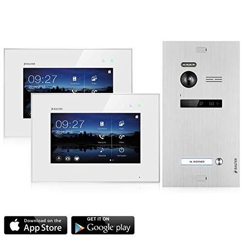 BALTER EVO Video Türsprechanlage ✓ 2 x Touchscreen 7 Zoll Monitor ✓ Smartphone App ✓ 2-Draht BUS ✓ Türstation für 1 Familienhaus Türklingel ✓ 150° Weitwinkel-Kamera (2 Monitore mit App)