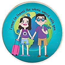 YaYa Cafe Valentine Gifts for Boyfriend Husband Fridge Magnet I Want to Travel The Whole World with You Printed Blue - Round