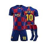 QQT Fußball Trikots Barcelona 10th Messi Heimtrikot Kinder und Erwachsenenkleidung Anzug (Hemden + Shorts + Socken)