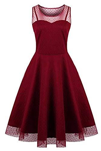 Oriention Damen Cocktailkleid 1950er Jahrgang Kleider Abendkleid Langarm Knielang Rockabilly Kleid