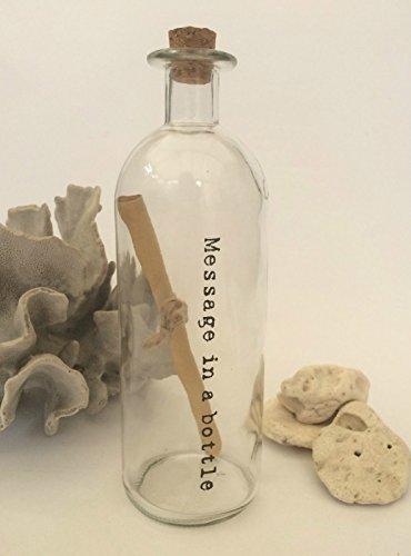 Vintage cristal Mensaje en una botella Primera Papel de 1er aniversario de boda regalo