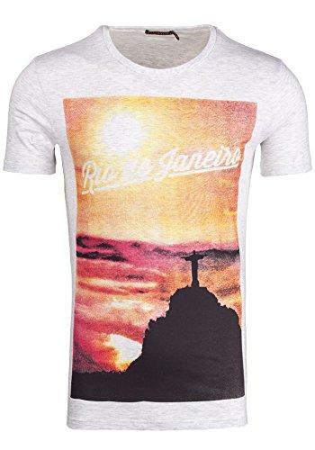 BOLF T-shirt Figurbetont Kurzarm GLO STORY 7481 Grau XXL [3C3]  