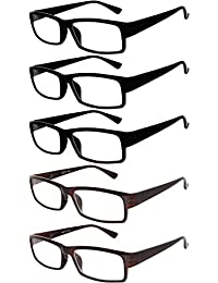 Readers 5 Pack Of Elegant Womens Mens Reading Glasses With Beautiful Patterns For Ladies And Gentlemens Deluxe... - B073WJ3YGK