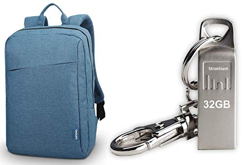 Lenovo B210 15.6-Inch Casual Backpack - Blue + 32GB Strontium Ammo Pen Drive Combo