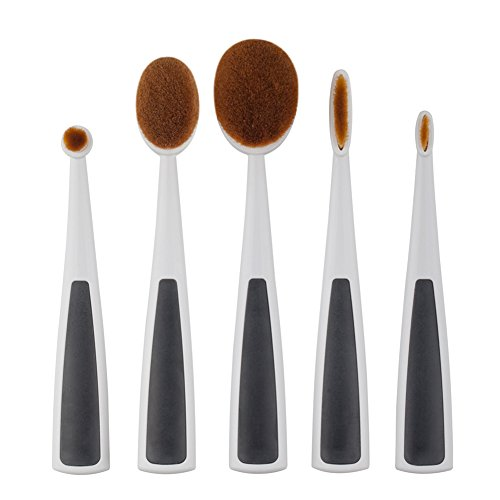 Hrph 5Pcs/Set Elite Oval Cream Puff Toothbrush Makeup Powder Foundation Facial Lip Eyeshadow Brushes Kits