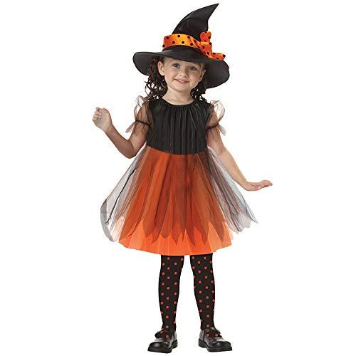 Proumy ◕ˇ∀ˇ◕Halloween Verkeidung mit Hut Hexe Kostüm Maskerade Cosplay für Baby Mädchen Halloween Kleidung Kostüm Kleid Party Kleider + Hut Outfit (Gelb,7-9T) (Rose Hexe Kostüm)