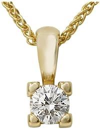 Diamond Line Damen - Halskette 585er Gold 1 Diamant ca. 0,22 ct., gelbgold