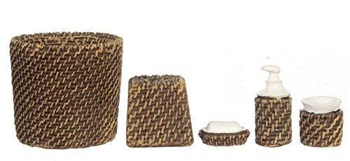 Puppenhaus Miniatur Modern Weidenkorb Badezimmer Zubehör Set Bin Seife Wasserglas 5 Stk. (Weidenkörbe Fünf)