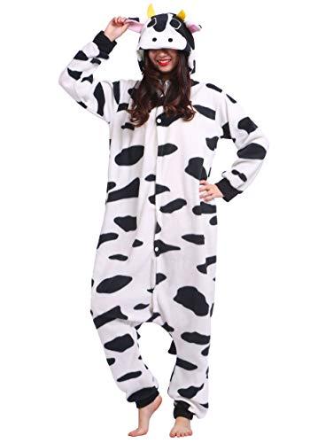 Jumpsuit Onesie Tier Karton Kigurumi Fasching Halloween Kostüm Lounge Sleepsuit Cosplay Overall Pyjama Schlafanzug Erwachsene Unisex Kuh for Höhe 140-187CM