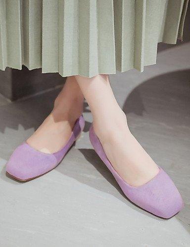 ZQ Damenschuhe - Ballerinas - Outddor / B¨¹ro / L?ssig - Kunstleder - Flacher Absatz - Quadratische Zehe - Schwarz / Rosa / Lila / Beige purple-us11 / eu43 / uk9 / cn44