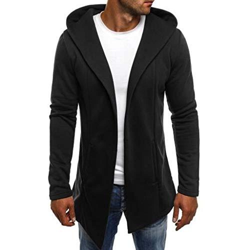 DNOQN Männer Jacke Winter Pullover Herren Jacken Online Spleißen Mit Kapuze Solide Trenchcoat Jacke Strickjacke Langarm Outwear Bluse