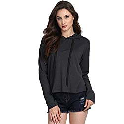 Fanideaz Women's Cotton Full Sleeve Hooded T-Shirt Top (Charcoal Melange_Fwft0266B_S_Small)