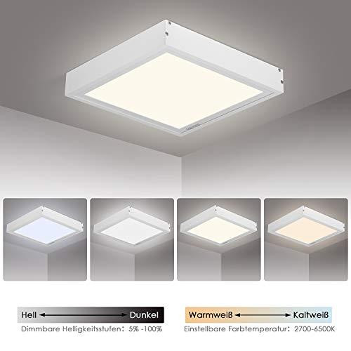 Albrillo LED Panel 30x30cm - 20W Dimmbar und Farbtemperatur Einstellbar (2700-6500K), LED Deckenleuchte mit Fernbedienung, Büroleuchte Inkl. LED Trafo und Weiß Aluminiumsrahmen