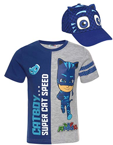 PJ MASK T-Shirt blau + Cap Bundle Jungen Set Cappy Catboy blau die Pyjamahelden Kinder Gr. 98 104 110 116 128 (110)