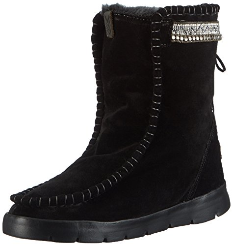 Laidback London Wadabi, Bottes de neige de hauteur moyenne, doublure chaude femme Noir - Schwarz (Black Suede / silver - gun metal)