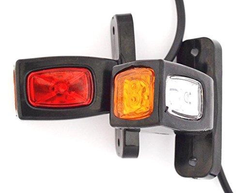 2PCS Seite hinten Outline Marker Lights 24V 12V Trailer Van Truck Caravan Chassis Wohnmobil orange weiß - Anhänger Led-marker
