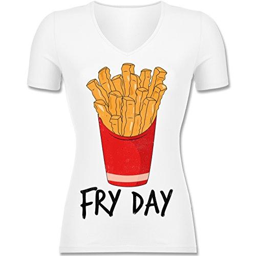 Statement Shirts - Fry Day - Pommes Frites - Tailliertes T-Shirt mit V-Ausschnitt für Frauen Weiß
