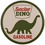 Advertising Tin Sign featuring The Logo for Sinclair Dino Gasoline Company with Green Brontosaurus 30x30cm