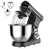 MURENKING MK37C Küchenmaschine(1000W,5 Liter edelstahl-Rührschüssel, 6-Stufige Geschwindigkeit ), Knetmaschine Schüsse Den Kopf neigen mit Zubehör(Schwarz)