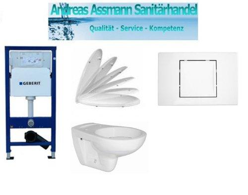 Geberit Duofix Basic UP 100 WC-Vorwandelement WC SET mit Platte Delta 40 weiß, Schallschutzset, Wand WC Keramik und WC-Sitz Absenkautomatik